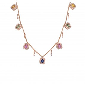 18kt Rose Gold Diamond And Sapphire Necklace