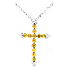 18kt White Gold Yellow Sapphire Cross Pendant