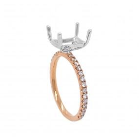 18kt White And Rose Gold Diamond Semi-mount