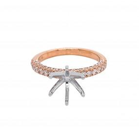 18kt White And Rose Gold Diamond Semi Mount