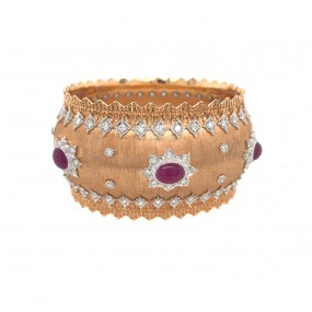 18kt Rose Gold Diamond And Ruby Bangle