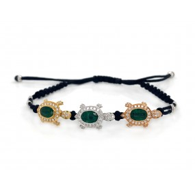 18kt Tri-color Gold Diamond And Emerald Bracelet