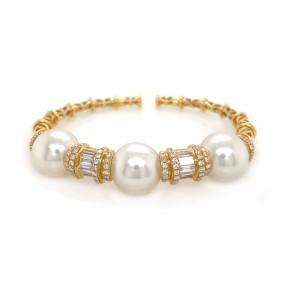 18kt Yellow Gold Diamond And Pearl Bangle