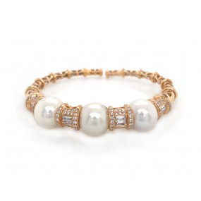 18kt Rose Gold Diamond And Pearl Bangle