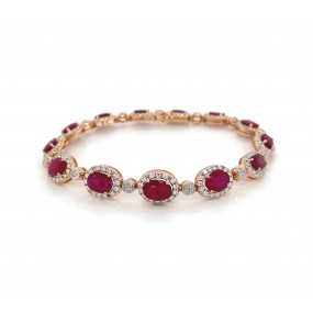 18kt Rose Gold Diamond And Ruby Bracelet