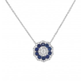 18kt White Gold Diamond and Sapphire Pendant