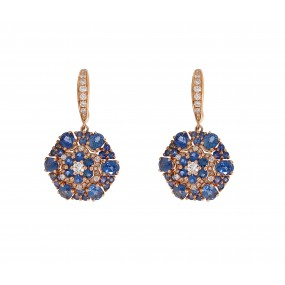 18kt Rose Gold Diamond And Sapphire Earring