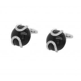 18kt White Gold Diamond And Onyx Cuff-links