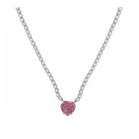 18kt White Gold Diamond and Tourmaline necklace