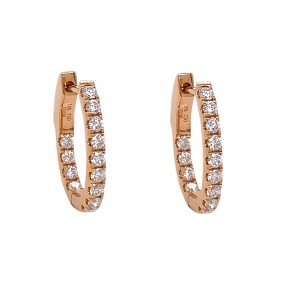 18kt Rose Gold Diamond Hoops