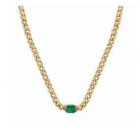 18kt Yellow Gold Diamond And Emerald Necklace