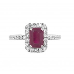 18kt White Gold Diamond And Ruby Ring