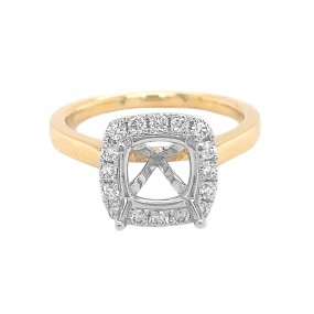 18kt Yellow and White Gold Diamond Semi-mount