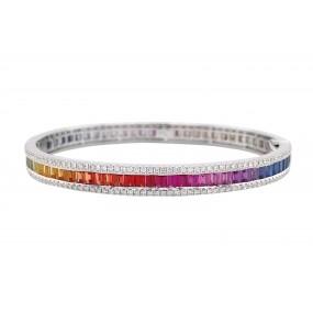 18kt White Gold Diamond and Sapphire Bangle