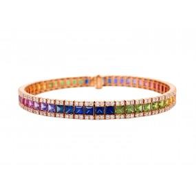 18kt Rose Gold Diamond And Sapphire Bracelet