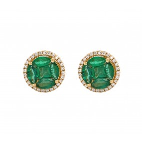 18kt Yellow Gold Diamond And Emerald Earrings