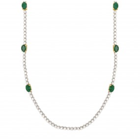 18kt White Gold Diamond and Emerald Necklace