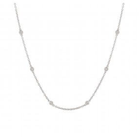 18kt White Gold Diamond By The Inch Necklace