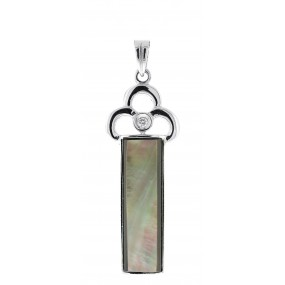 14kt White Gold and Black Mother Of Pearl Pendant