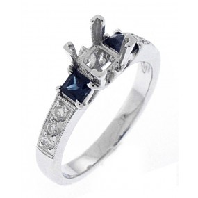18kt White Gold Diamond And Sapphire Semi Mount