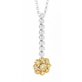 18kt White And Rose Gold Diamond Dangling Flower Pendant
