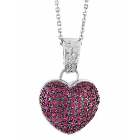 18kt White Gold Pink Sapphire Heart Pendant