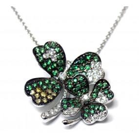 18kt White Tsavorite and Diamond Clover Pendant