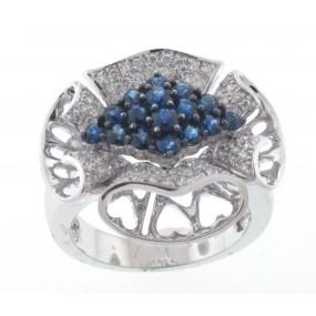 18kt White Gold Sapphire Flower Ring