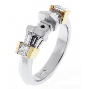 Platinum And 18kt Yellow Gold Diamond Semi Mount