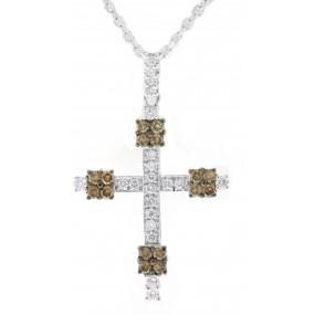 18kt White Gold Diamond Cross