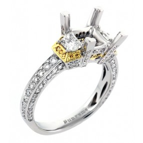 18kt White And Yellow Gold Diamond Semi Mount