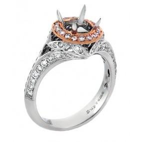18kt White And Pink Gold Diamond Halo Semi Mount