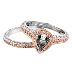 18kt White And Rose Gold Diamond Halo Semi Mount