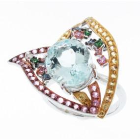 18kt White Gold Aqua Marine Ring