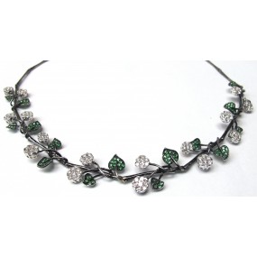 18kt Black Gold Diamond Tsavorite Necklace