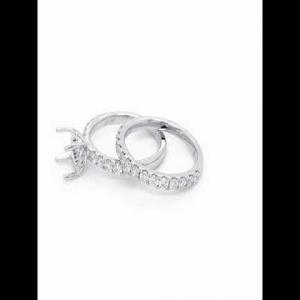 18kt White Gold Diamond Semi-mount With Matching Band