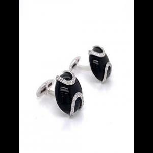 18kt White Gold Diamond Cuff-links