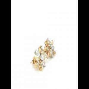18kt yellow gold diamond and yellow diamond earrings