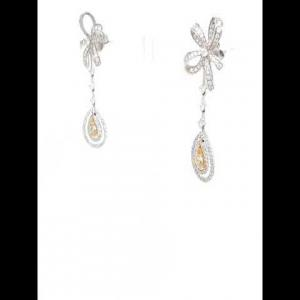 18kt White Gold Yellow Diamond Earring